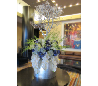 Orchid, Hydrangea, and Manzanita Lobby Design in Somerset NJ, Flower Station