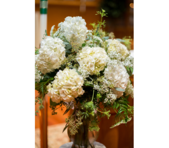 White Hydrangea Altar vase in Perry Hall MD, Perry Hall Florist Inc.