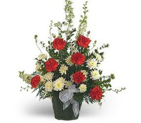 Red & White Funeral Tribute-FREE DELIVERY in Cohasset MA, ExoticFlowers.biz
