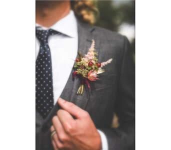 Boho Chic Boutonniere in Neenah WI, Sterling Gardens