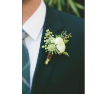 Ranunculus Boutonniere in Neenah WI, Sterling Gardens