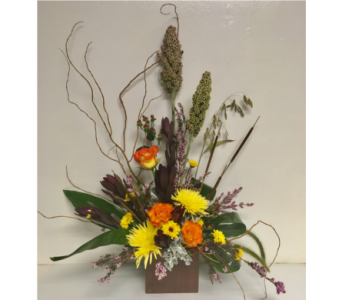 Fall Harvest Styled Arrangement in 6x6 Bamboo Cube in Wyoming MI, Wyoming Stuyvesant Floral