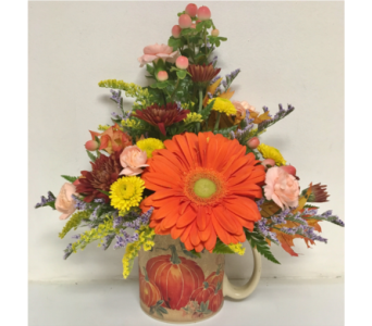 Pumpkin Mug Arrangement in Wyoming MI, Wyoming Stuyvesant Floral