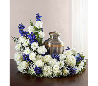 Cremation Wreath - Blue and White in Watertown CT, Agnew Florist
