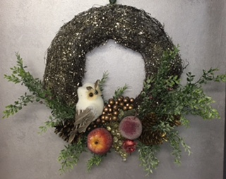Fruit and Owl Wreath in Elyria OH, Botamer Florist & More