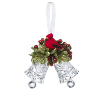 Double Cardinal Bell Ornament in Tampa FL, Buds, Blooms & Beyond