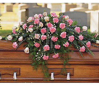 Heavenly Pink Casket Spray in Perrysburg & Toledo OH  OH, Ken's Flower Shops