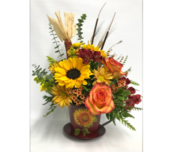 Sunflower Harvest Teacup Planter in Fort Pierce FL, Giordano's Floral Creations