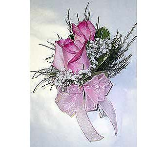 2 Pink Rose Corsage in Raleigh NC, Gingerbread House Florist - Raleigh NC