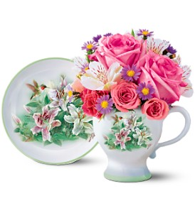 Teleflora's Lena Liu Hummingbird Teacup Bouquet in Winterspring, Orlando FL, Oviedo Beautiful Flowers