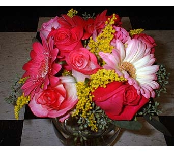 Premium Pink Cube with Solidago in Dallas TX, Z's Florist