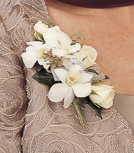 White Rose and Orchid Corsage in Denver CO, Lehrer's Flowers