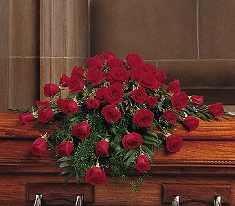 Blooming Red Roses Casket Spray in Napa CA, Beau Fleurs Napa Valley Flowers