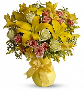 Teleflora's Sunny Smiles in Redwood City CA, A Bed of Flowers