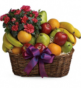 Fruits and Blooms Basket in Trumbull CT, P.J.'s Garden Exchange Flower & Gift Shoppe