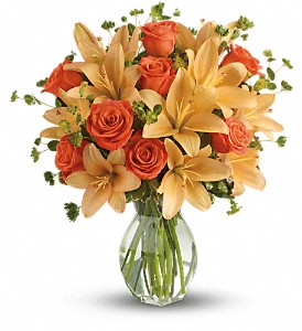 Fiery Lily and Rose in Syosset NY, Scarsella's Florist
