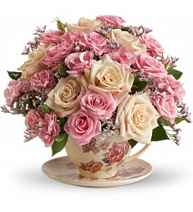 Teleflora's Victorian Teacup Bouquet in Delmar NY, The Floral Garden