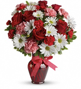 Hugs and Kisses Bouquet with Red Roses in Escanaba MI, Wickert Floral