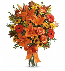 Burst of Autumn in Mount Morris MI, June's Floral Company & Fruit Bouquets