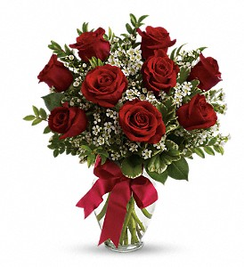 Thoughts of You Bouquet with Red Roses in Gothenburg NE, Ribbons & Roses