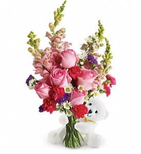 Teleflora's Bear Hug Bear with Pink Roses in Oklahoma City OK, Capitol Hill Florist & Gifts