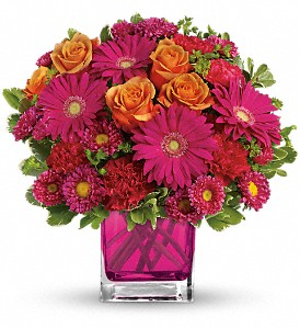Teleflora's Turn Up The Pink Bouquet in The Woodlands TX, Rainforest Flowers