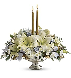 Teleflora's Silver And Gold Centerpiece in Tuckahoe NJ, Enchanting Florist & Gift Shop