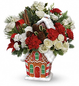 Teleflora's Gingerbread Cookie Jar Bouquet in Sevierville TN, From The Heart Flowers & Gifts