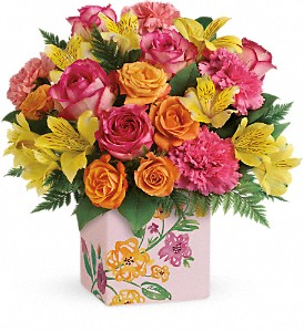 Teleflora's Painted Blossoms Bouquet in San Bruno CA, San Bruno Flower Fashions