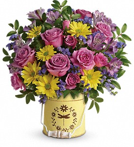Teleflora's Blooming Pail Bouquet in Lewistown MT, Alpine Floral Inc Greenhouse