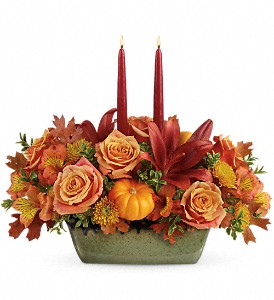Teleflora's Country Oven Centerpiece in Yonkers NY, Beautiful Blooms Florist