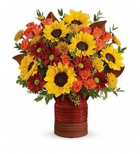 Teleflora's Sunshine Crock Bouquet in flower shops MD, Flowers on Base