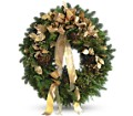 Golden Evergreen Wreath in Oklahoma City OK Array of Flowers & Gifts