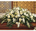 Pure White Casket Spray in Boston MA Exotic Flowers