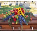 Vibrant Summer Casket Spray in San Francisco CA Fillmore Florist