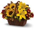Golden Days Basket in Billerica MA Candlelight & Roses Flowers & Gift Shop
