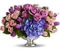 Teleflora's Purple Elegance Centerpiece in Battle Creek MI Swonk's Flower Shop