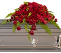 Red Rose Sanctuary Casket Spray in Dallas TX In Bloom Flowers, Gifts and More