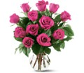 12 Hot Pink Roses Local and Nationwide Guaranteed Delivery - GoFlorist.com