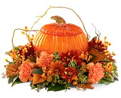Teleflora's Art Glass Pumpkin in Bradenton FL, Tropical Interiors Florist
