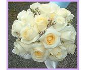 Vendela roses & pink wax flower hand tied bouquet in Tuckahoe, New Jersey, Enchanting Florist & Gift Shop