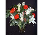 Red & White Holiday Mix With Canes in Dallas TX, Z's Florist