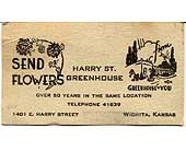 Old Business Card in Wichita KS, Tillie's Flower Shop