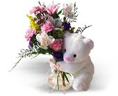 Teleflora's Bear Hug Bear with Roses in Irvington NJ, Jaeger Florist