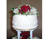 three tier red and white cake topper in Williamsport, Pennsylvania, Janet's Floral Creations