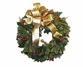HW-2221 ''ARTIFICIAL MIXED GREENS'' CHRISTMAS WREATH in Oklahoma City OK, Array of Flowers & Gifts
