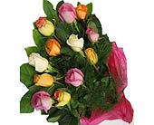 12 mixed colour roses, picture