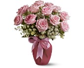 A Dozen Pink Roses and Lace in Charlotte NC, Starclaire House Of Flowers Florist