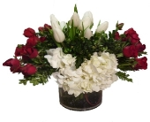 Washington Flowers - Red and White Cylinder Vase - Greenworks By Shane Floral, Inc.