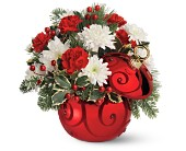 Teleflora's Ruby Swirl Ornament Bouquet in The Woodlands TX, Rainforest Flowers